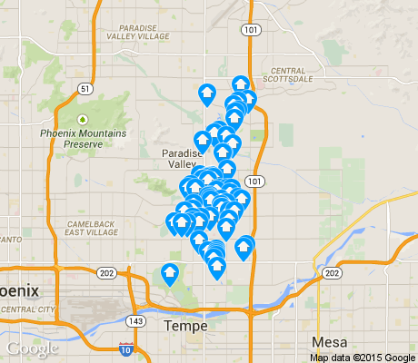 map of South Scottsdale apartments for rent