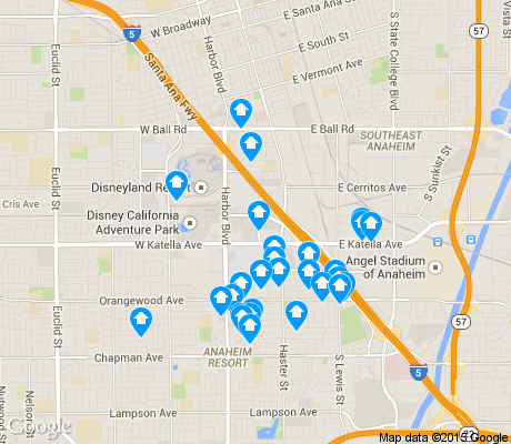 map of Anaheim Resort apartments for rent
