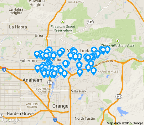 map of Northeast Anaheim apartments for rent