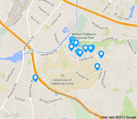 map of UC Irvine apartments for rent