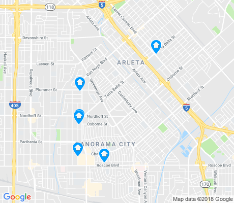 map of Arleta apartments for rent