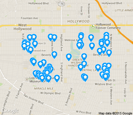 map of Mid Wilshire apartments for rent