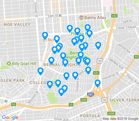 map of Bernal Heights apartments for rent