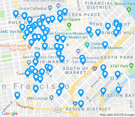 map of South of Market apartments for rent