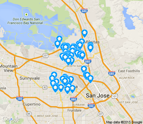 map of North San Jose apartments for rent