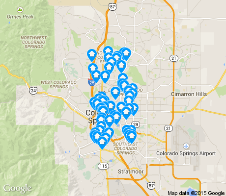 map of Central Colorado Springs apartments for rent