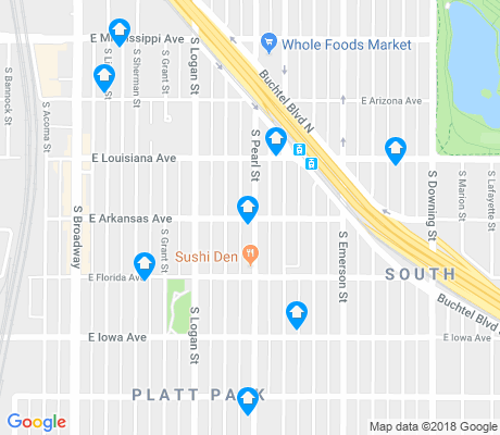 map of Platt Park apartments for rent