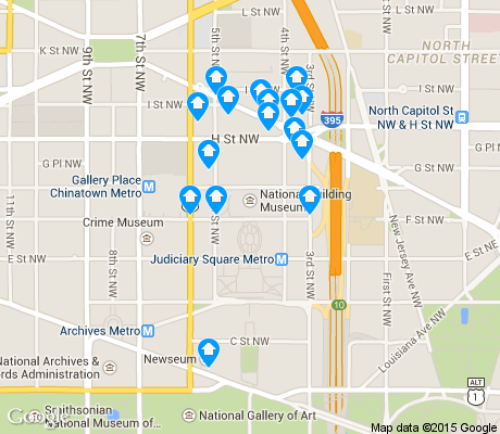 map of Judiciary Square apartments for rent
