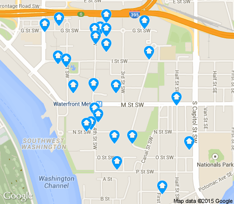 map of Southwest Waterfront apartments for rent