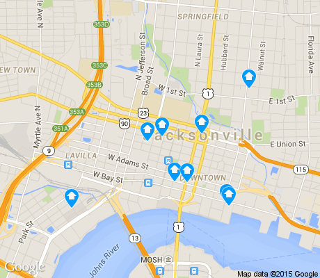 map of Downtown Jacksonville apartments for rent