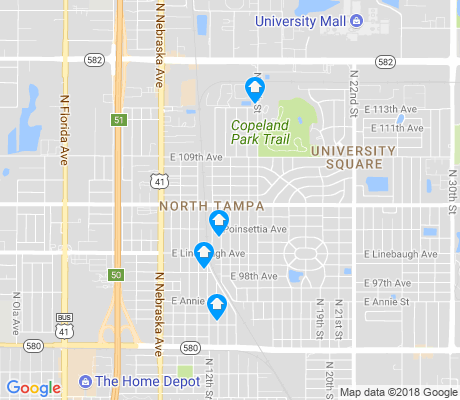 map of North Tampa apartments for rent