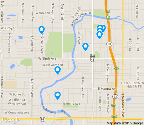 map of Seminole Heights apartments for rent