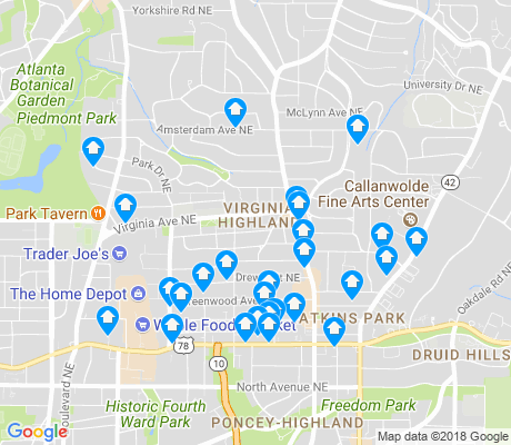 map of Virginia Highland apartments for rent
