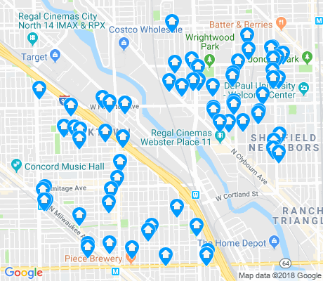 map of Bucktown apartments for rent