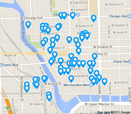 map of River North apartments for rent