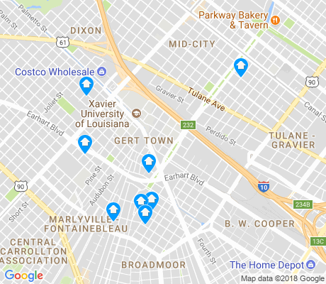 map of Gert Town apartments for rent