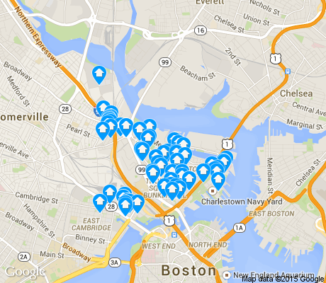 map of Charlestown apartments for rent