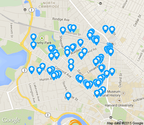 map of Peabody apartments for rent