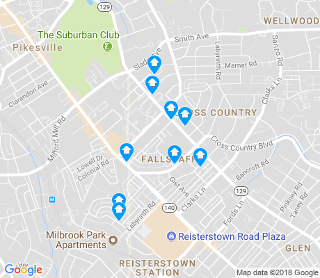 map of Fallstaff apartments for rent