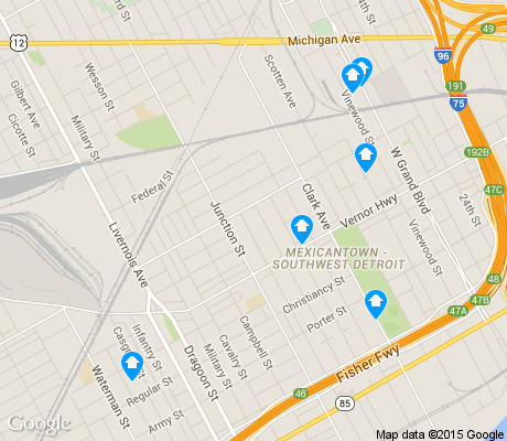 map of Southwest Detroit apartments for rent