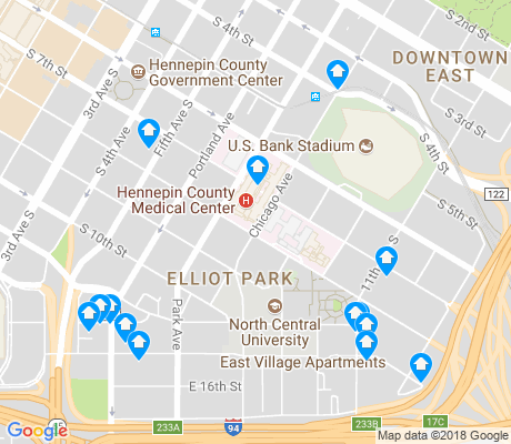 map of Elliot Park apartments for rent