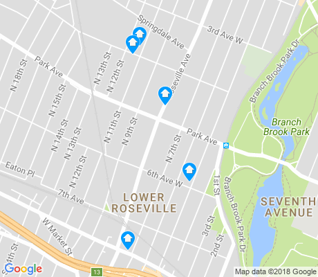 map of Lower Roseville apartments for rent