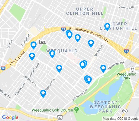 map of Weequahic apartments for rent