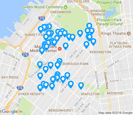 map of Borough Park apartments for rent
