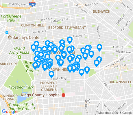 map of Crown Heights apartments for rent