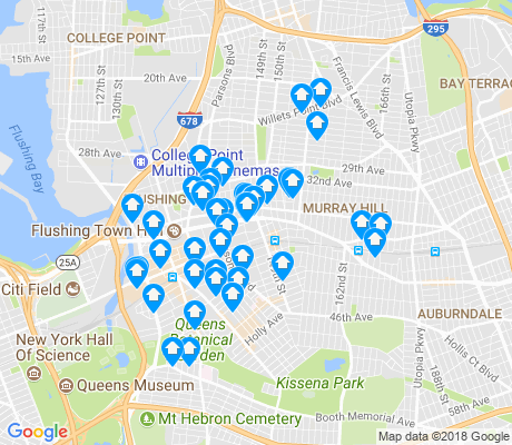 map of Flushing apartments for rent
