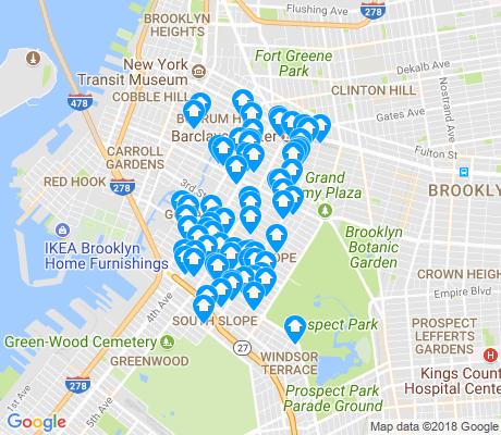map of Park Slope apartments for rent