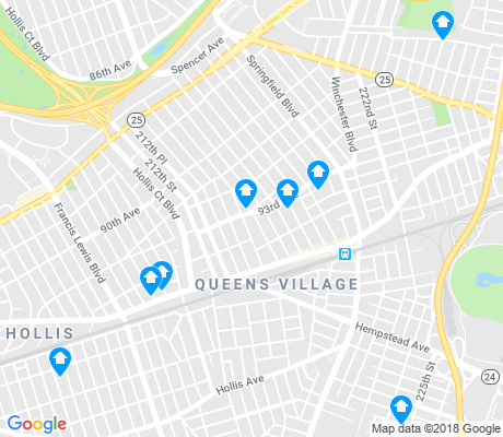 map of Queens Village apartments for rent