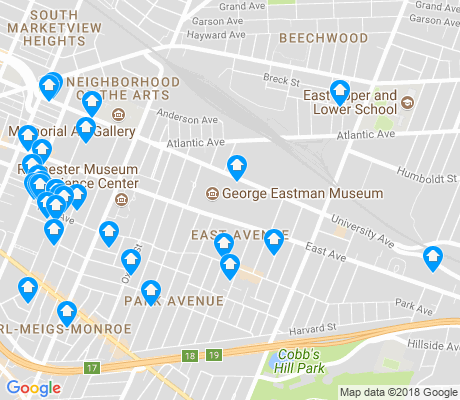 map of East Avenue apartments for rent