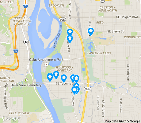 map of Sellwood/Moreland apartments for rent