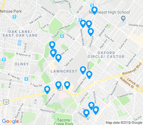 map of Lawncrest apartments for rent