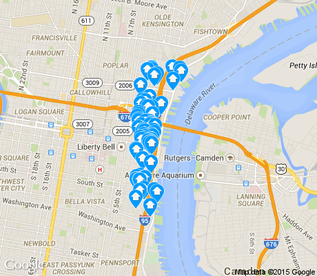 map of Riverfront apartments for rent