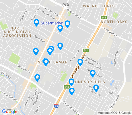 map of North Lamar apartments for rent
