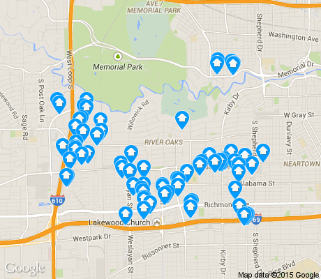 map of Afton Oaks / River Oaks Area apartments for rent
