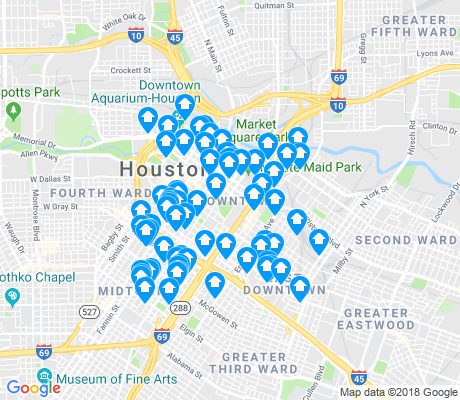 map of Downtown apartments for rent