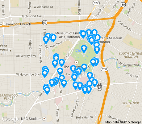 map of Medical Center Area apartments for rent