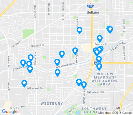 map of Meyerland Area apartments for rent