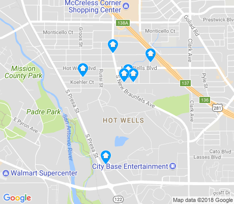 map of Hot Wells apartments for rent