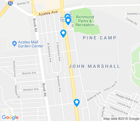map of Ginter Park apartments for rent