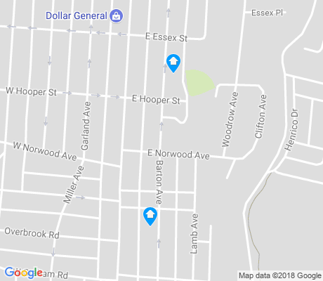 map of Northern Barton Heights apartments for rent