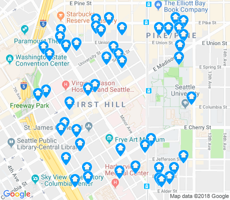 map of First Hill apartments for rent