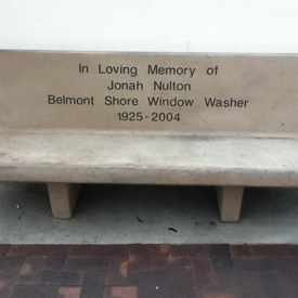 Photo of Bench Commemorating Jonah Nulton in Belmont Shore