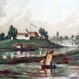 Photo of Chicago in 1831 showing river and Ft. Dearborn in Streeterville