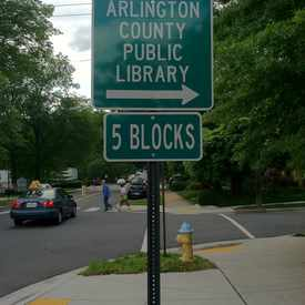 Photo of Street Sign for Arlington Public Library in Aurora Highlands