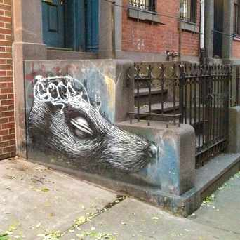 Photo of Stoop graffiti in East Village, New York