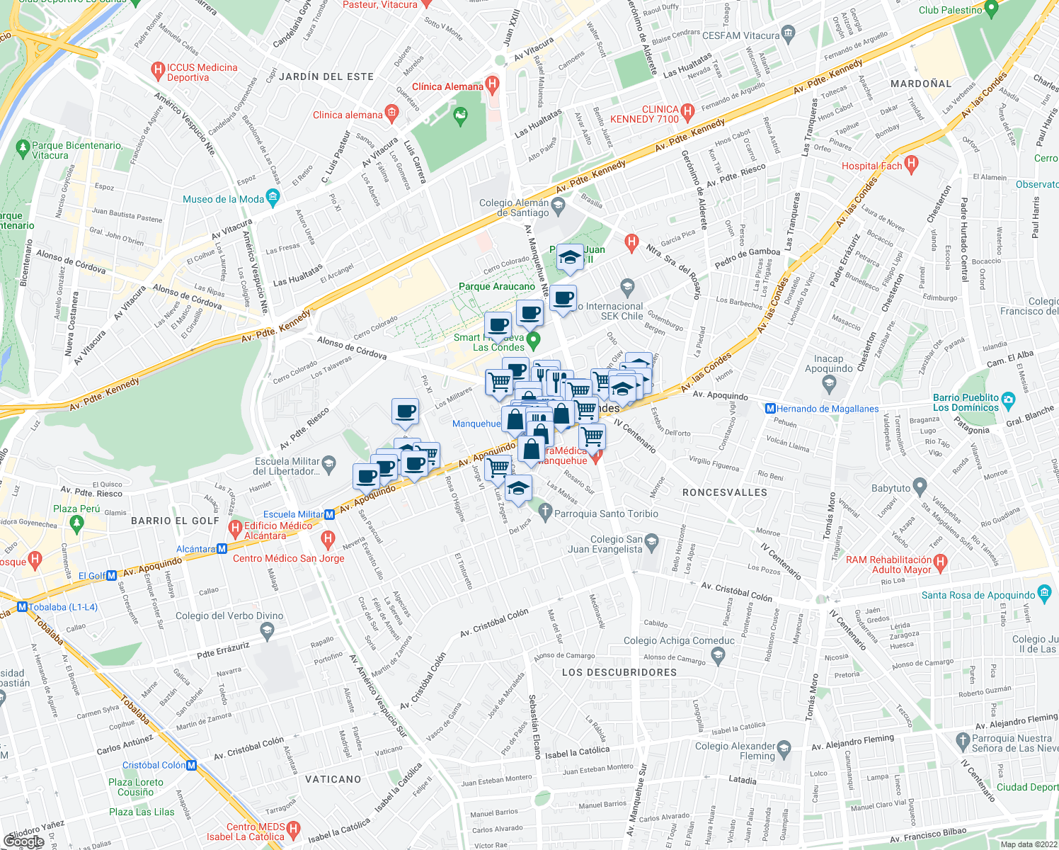 map of restaurants, bars, coffee shops, grocery stores, and more near 9-31 Rosario Norte in Santiago